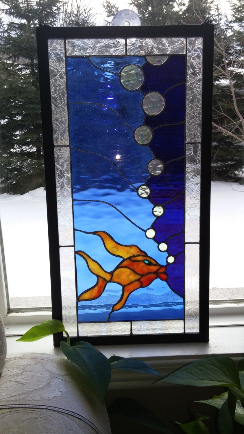 Most Popular Koi Fish Panel.stained Glass Window.framed Wall Art (View 14 of 15)