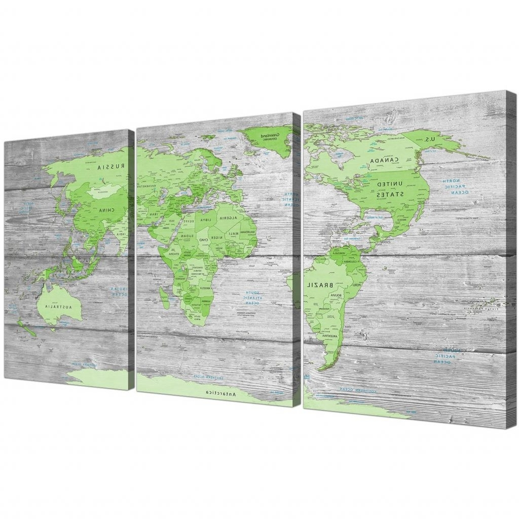 Most Popular Large Green Wall Art Inside Chic Inspiration Green Wall Art Or Large Lime Grey World Map Atlas (View 11 of 15)