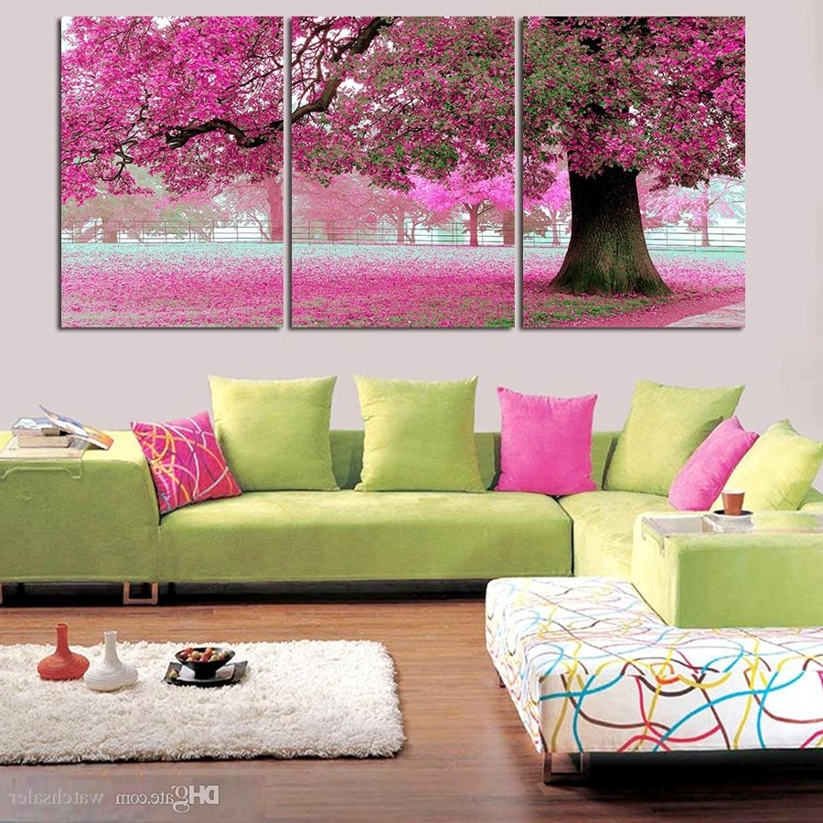 Most Popular Large Modern Wall Art Inside Best 3 Panel Canvas Art Pink Cherry Blossom Large Modern Wall Art (View 10 of 15)