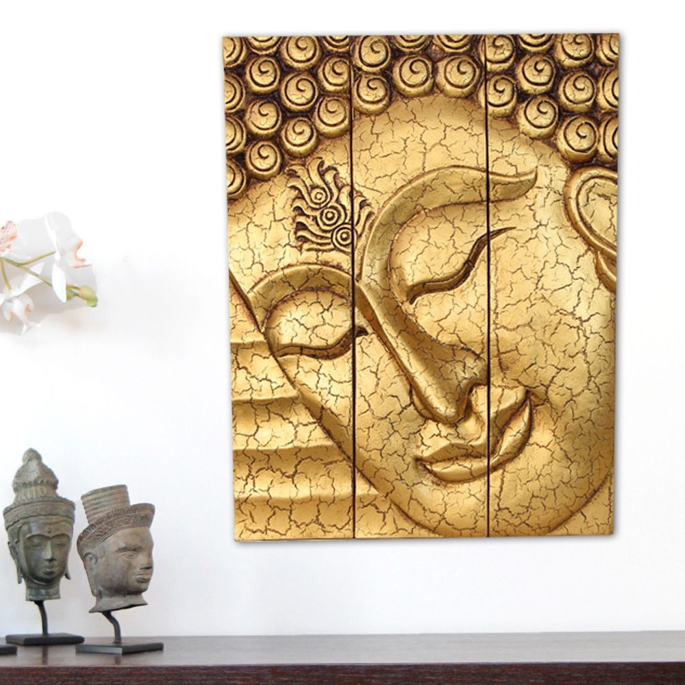 Most Popular Large Thai Buddha Face Statue Wooden Carved Wall Art Hanging Regarding Buddha Wooden Wall Art (View 6 of 15)
