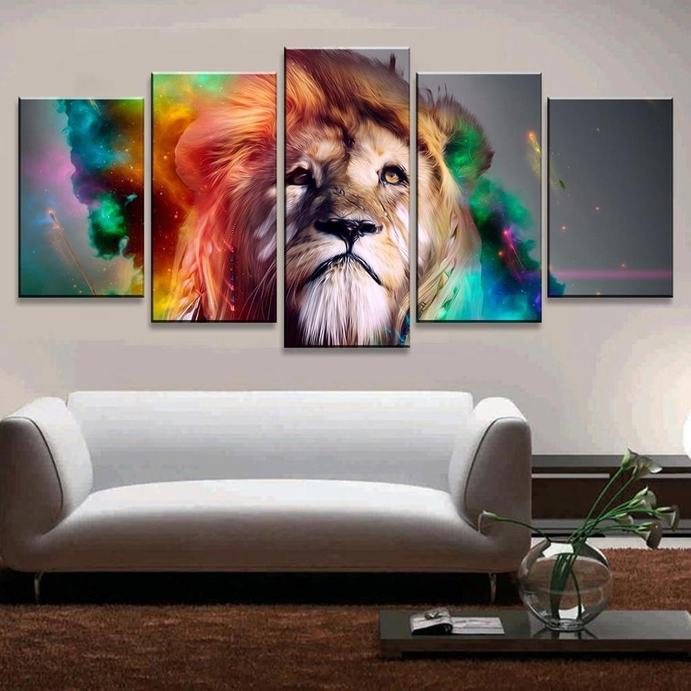 Most Popular Lion Wall Art For Big Size Abstract Living Room Wall Decor Colorful Wall Art Picture (View 9 of 15)