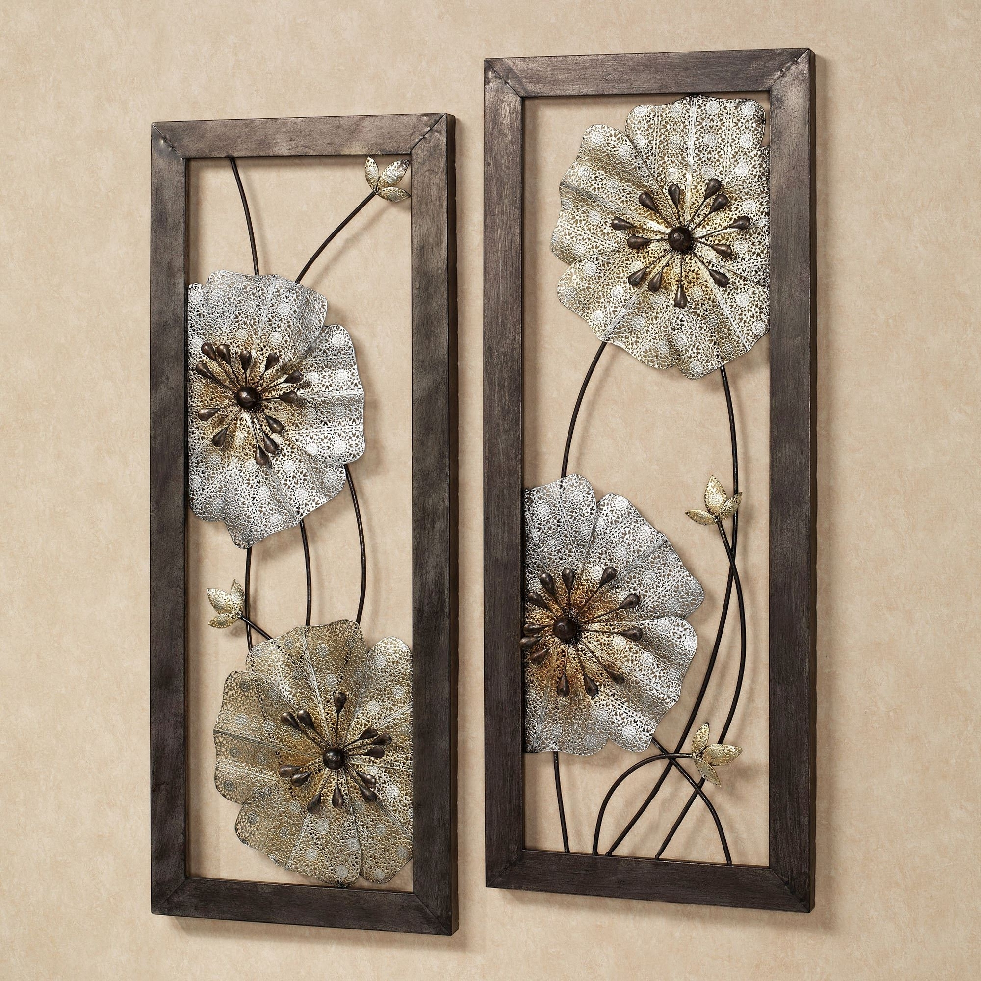 Most Popular Malacia Openwork Floral Metal Wall Art Set In Metallic Wall Art (View 10 of 15)