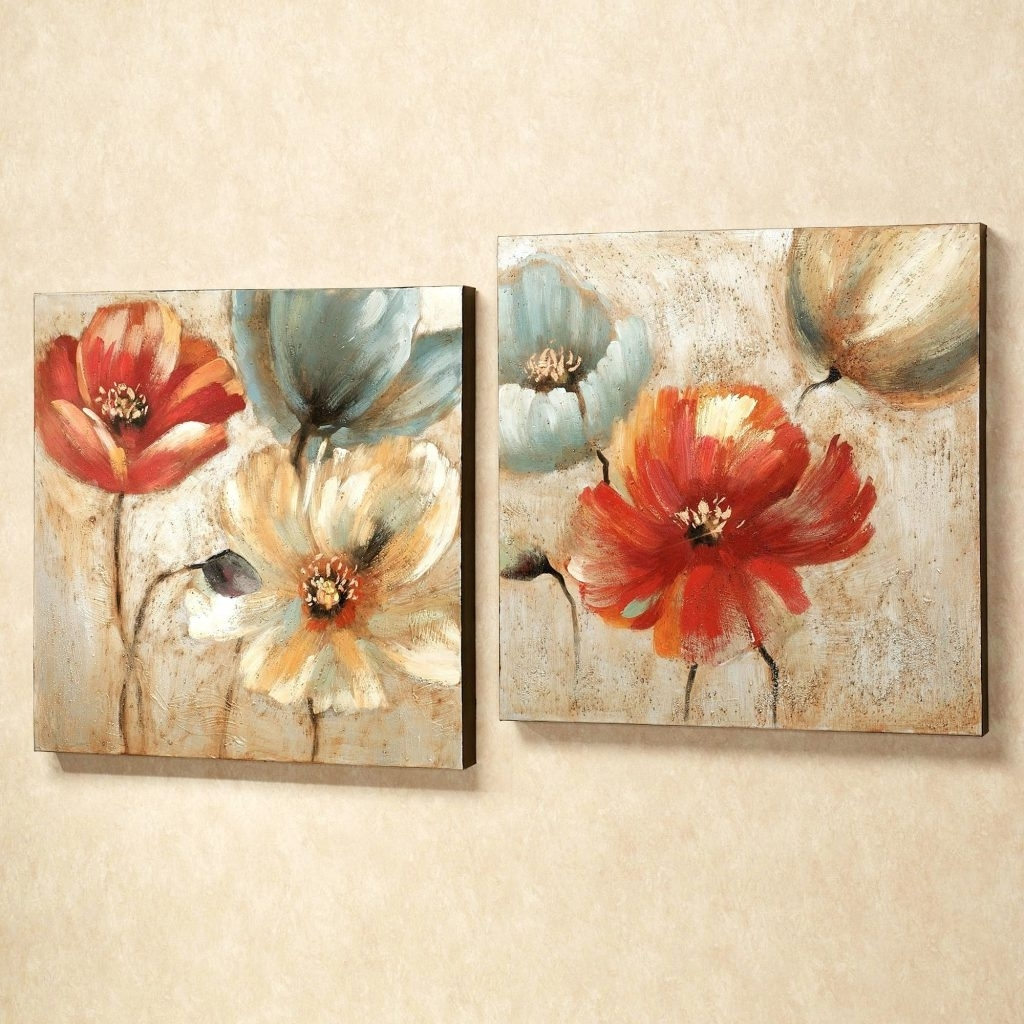 Most Popular Matching Wall Art Set Regarding Wall Arts ~ Matching Canvas Wall Art Joyful Garden Floral Canvas (View 11 of 15)