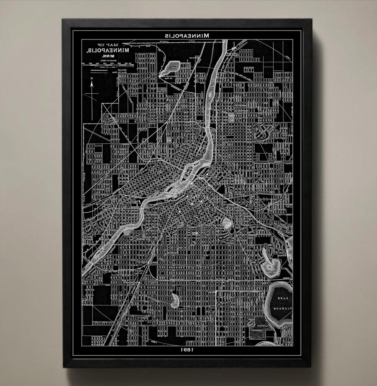 Most Popular Minneapolis Wall Art Regarding Minneapolis Map Print Black And White Minneapolis Wall Art (View 12 of 15)