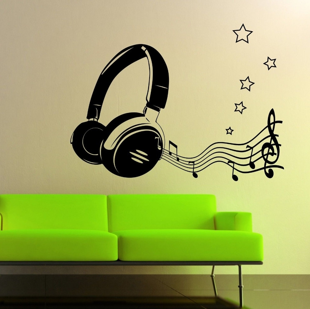 Most Popular Modern Fashion Headphone Music Notes Wall Art Sticker Home Decor Intended For Music Notes Wall Art Decals (View 3 of 15)