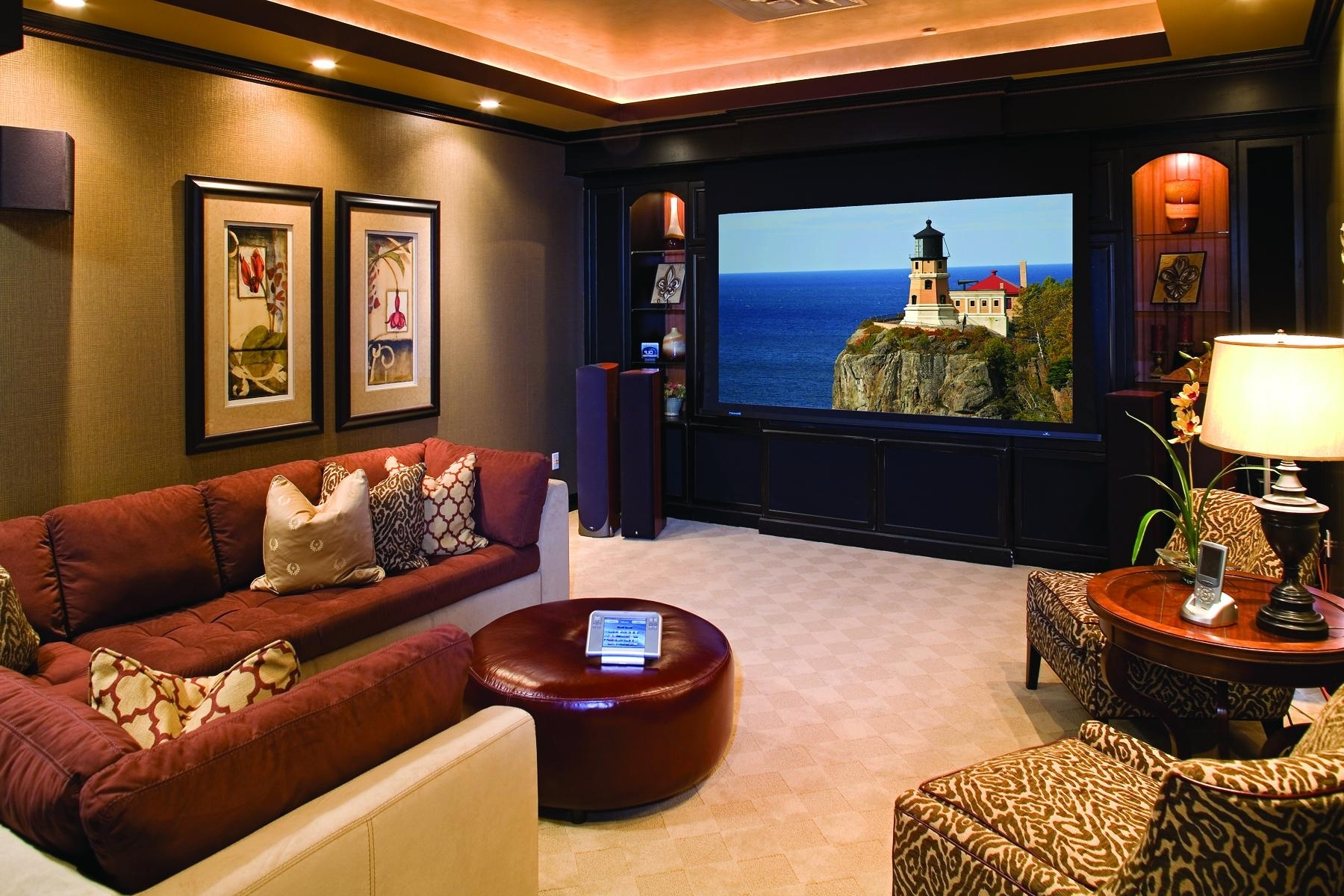 Most Popular Movie Poster Wall Art Glass Coffee Table Basement Home Theater Intended For Home Theater Wall Art (View 5 of 15)