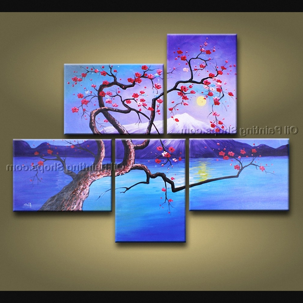 Most Popular Multiple Canvas Wall Art Throughout Contemporary Wall Art Floral Plum Blossom Interior Design (View 8 of 15)