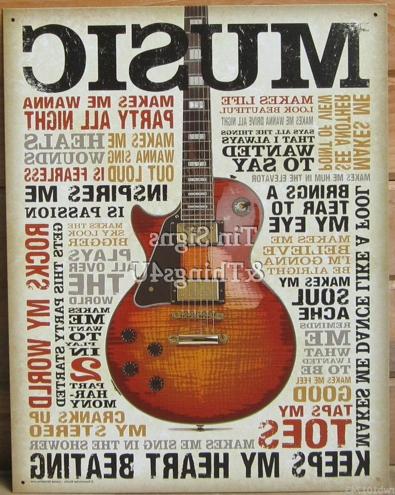 Most Popular Music Inspires Me Tin Sign Metal Poster Vtg Guitar Wall Art Home Inside Guitar Metal Wall Art (View 13 of 15)