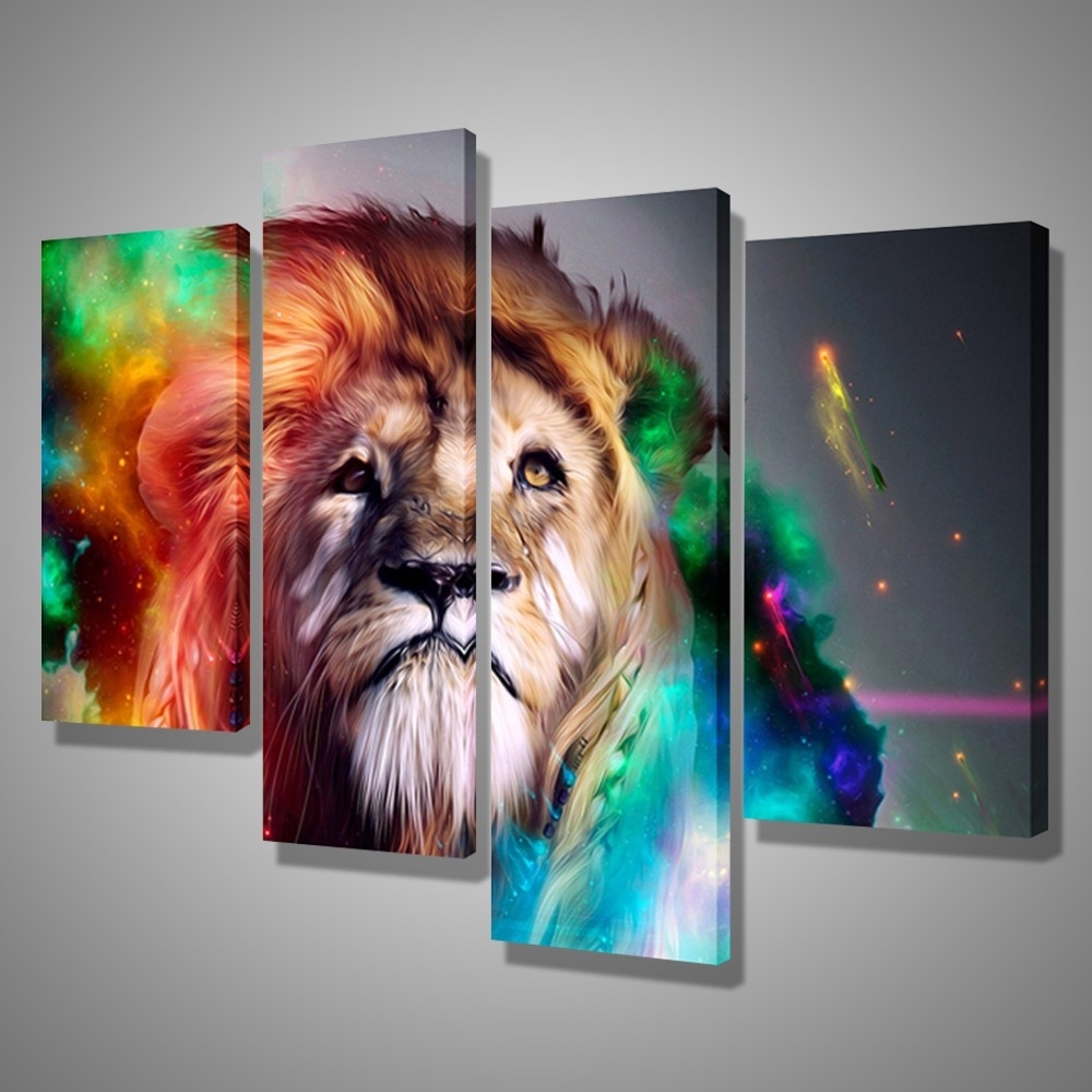 Most Popular Oil Paintings Canvas Cheap Abstract Lion Colorful Animals Wall Art For Abstract Lion Wall Art (View 9 of 15)