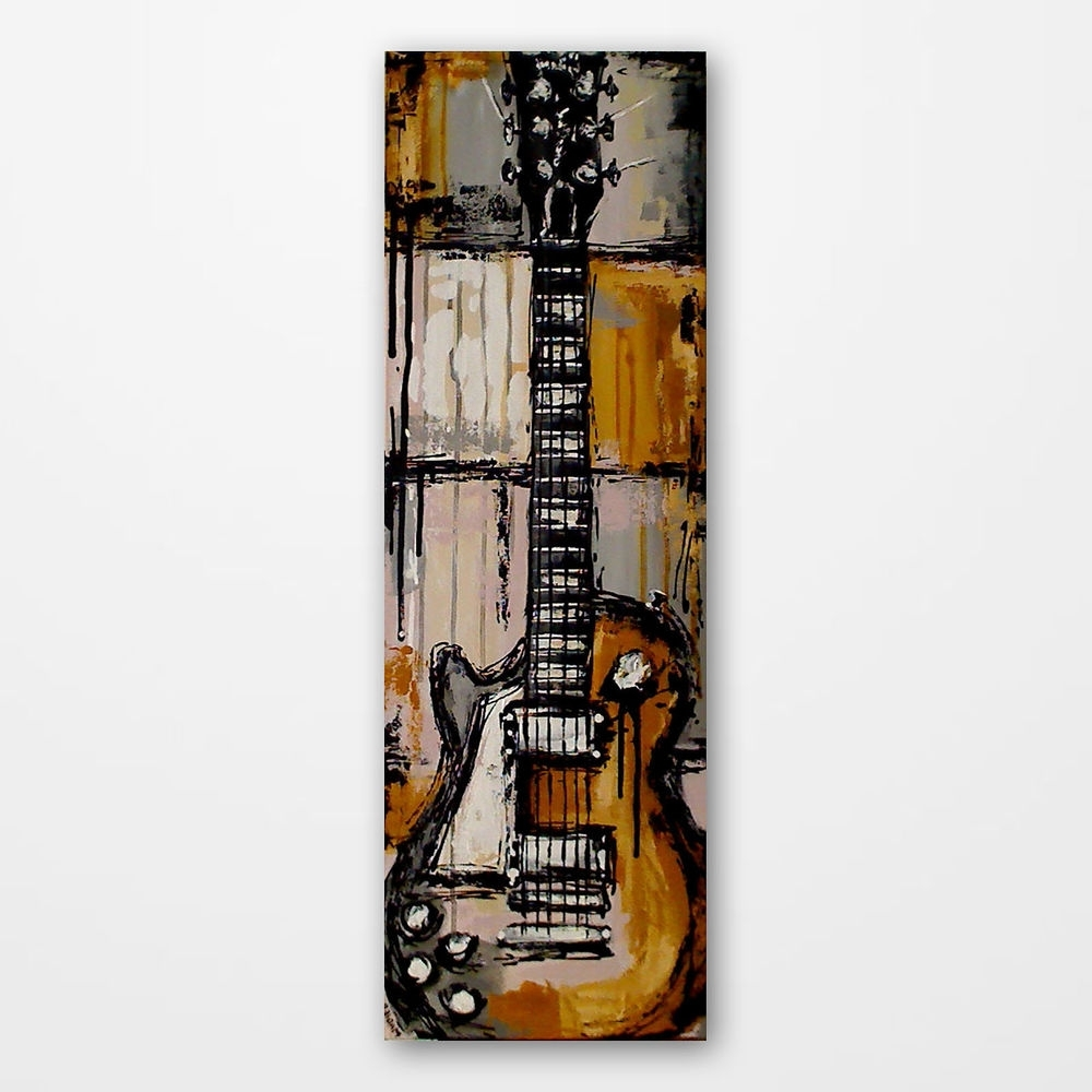 Most Popular Original Acrylic Yellow Guitar Painting On Canvas Les Paul, Rock Intended For Guitar Canvas Wall Art (View 10 of 15)