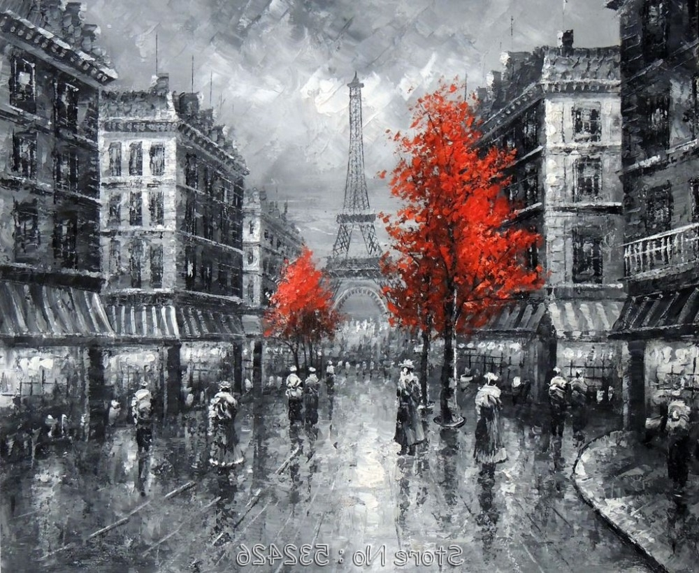 Most Popular Paris Eiffel Tower Black & White France Cityscape Handpainted Oil For Black And White Paris Wall Art (View 2 of 15)