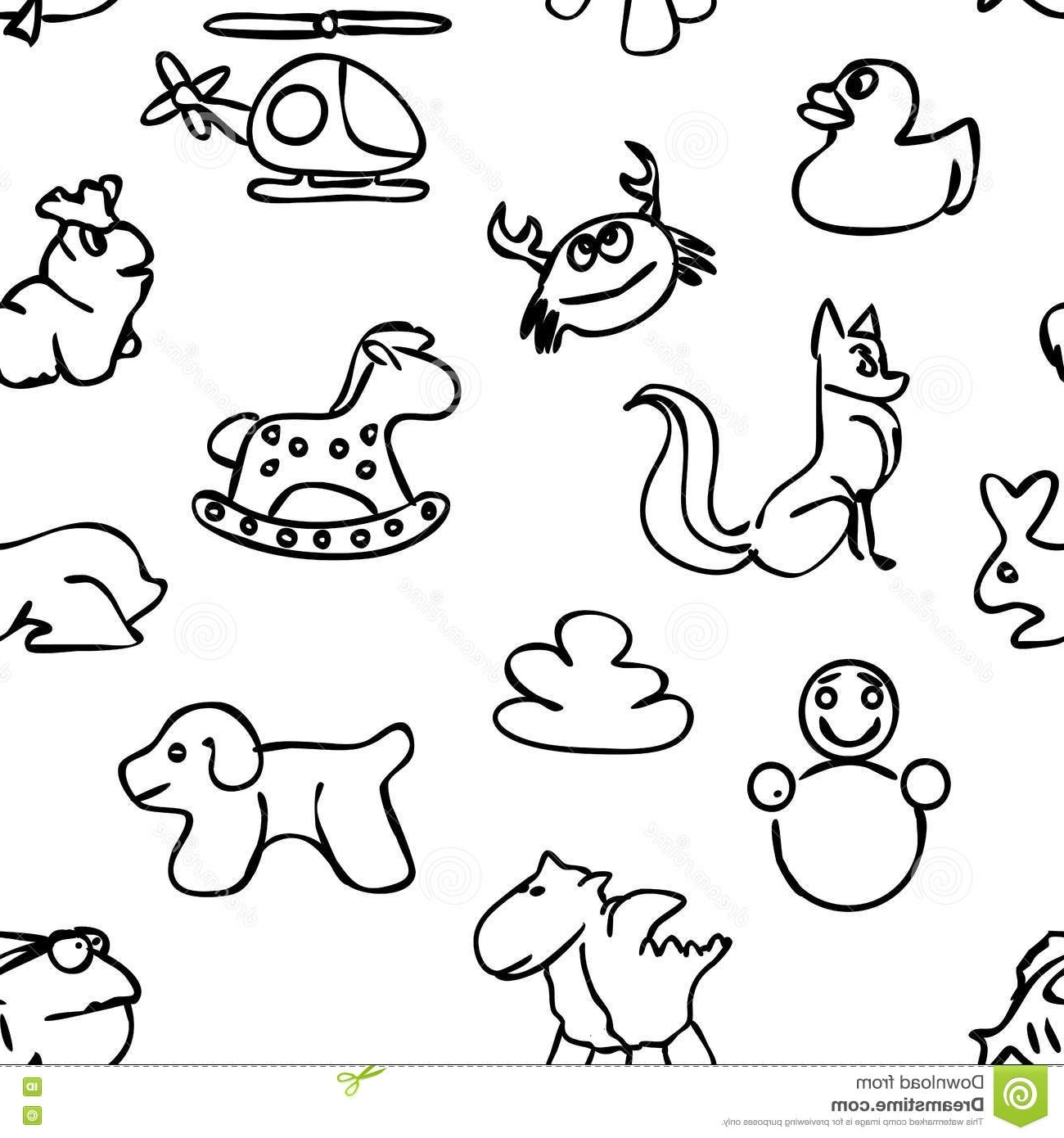 Most Popular Pattern Wall Art Throughout Seamless Kids Wall Art Doodles Pattern Stock Vector – Illustration (View 5 of 15)