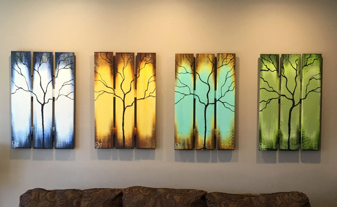 Most Popular Reclaimed Wood Wall Art Seasons Of Change Abstract Tree Paintings Intended For Abstract Nature Wall Art (View 9 of 15)