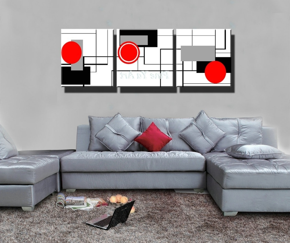 Most Popular Red And Black Canvas Wall Art Regarding 3 Piece Hd Print Cheap Red Black White Modern Artwork Abstract (View 5 of 15)