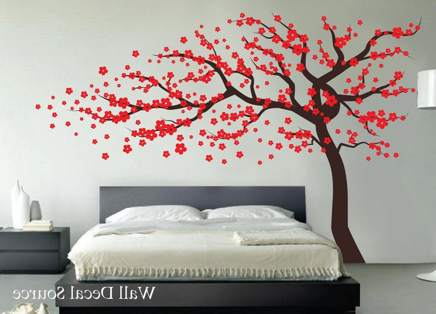 Most Popular Red Cherry Blossom Wall Art Regarding Red Cherry Blossom Tree  Wall Decal, Wall