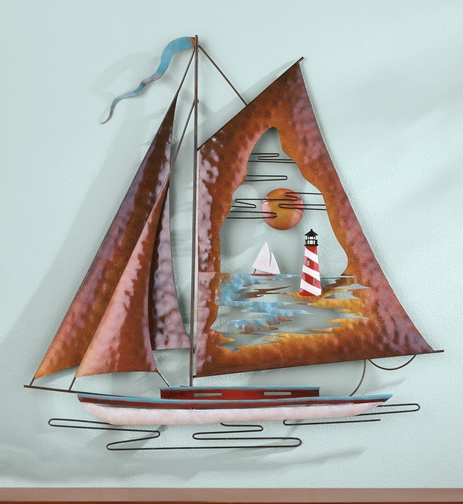 Most Popular Sailboat Metal Wall Art Inside Nautical Sailboats : Metal And Wooden Wall Sculpture (View 9 of 15)
