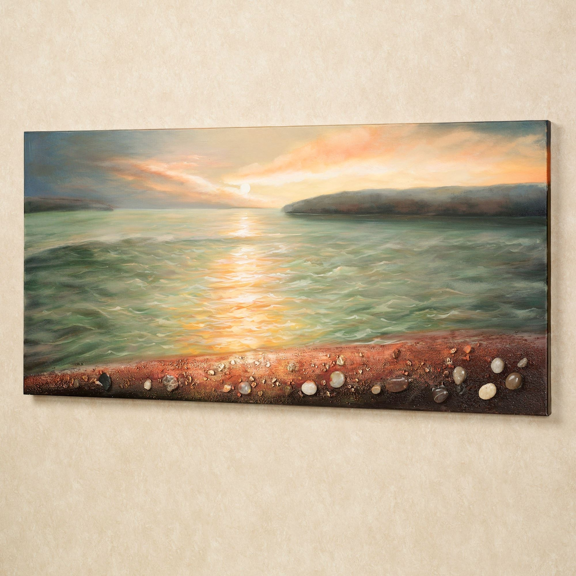 Most Popular Sunrise On Pebble Beach Canvas Wall Art For Coastal Wall Art Canvas (View 8 of 15)