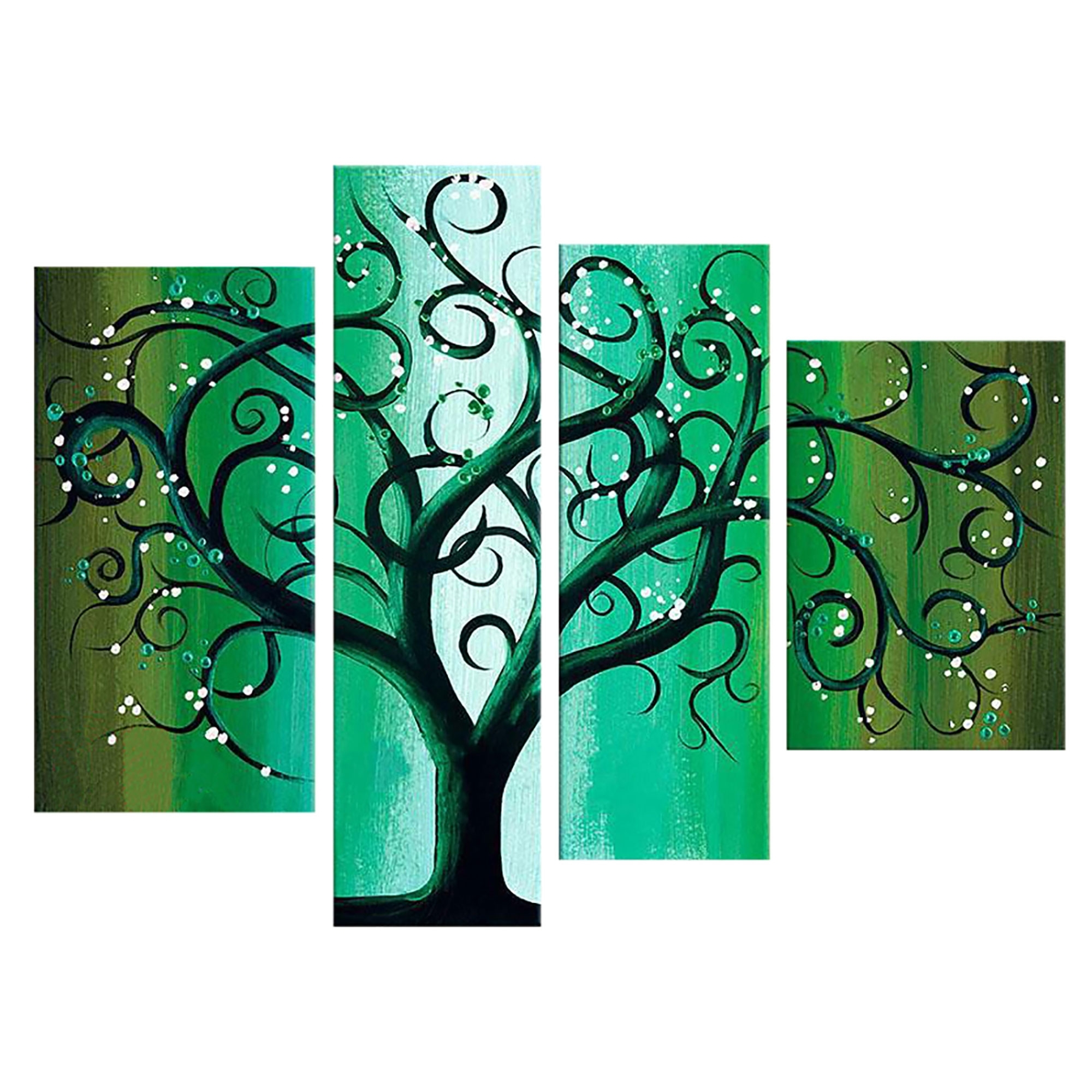 Most Popular Teal And Green Wall Art Throughout Green Contemporary Tree Landscape Canvas Wall Art Oil Painting (View 8 of 15)