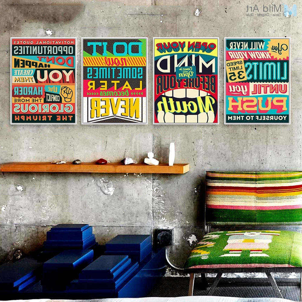 Most Popular Typography Canvas Wall Art Pertaining To Inspiration Typography Motivation Quotes Vintage Poster Print (View 13 of 15)