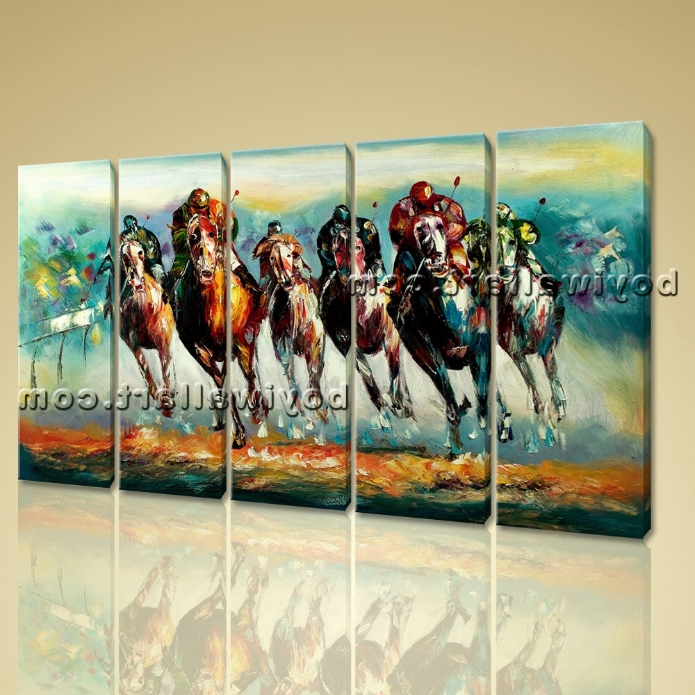 Most Popular Wall Art Famous Horse Racing Abstract Painting On Canvas Print Framed Pertaining To Abstract Horse Wall Art (View 12 of 15)