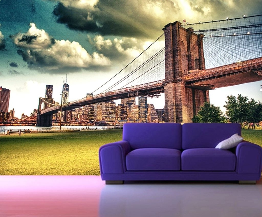 Most Popular Wall Arts ~ Self Adhesive New York Brooklyn Bridge Decorating With Regard To Brooklyn Bridge Metal Wall Art (View 6 of 15)