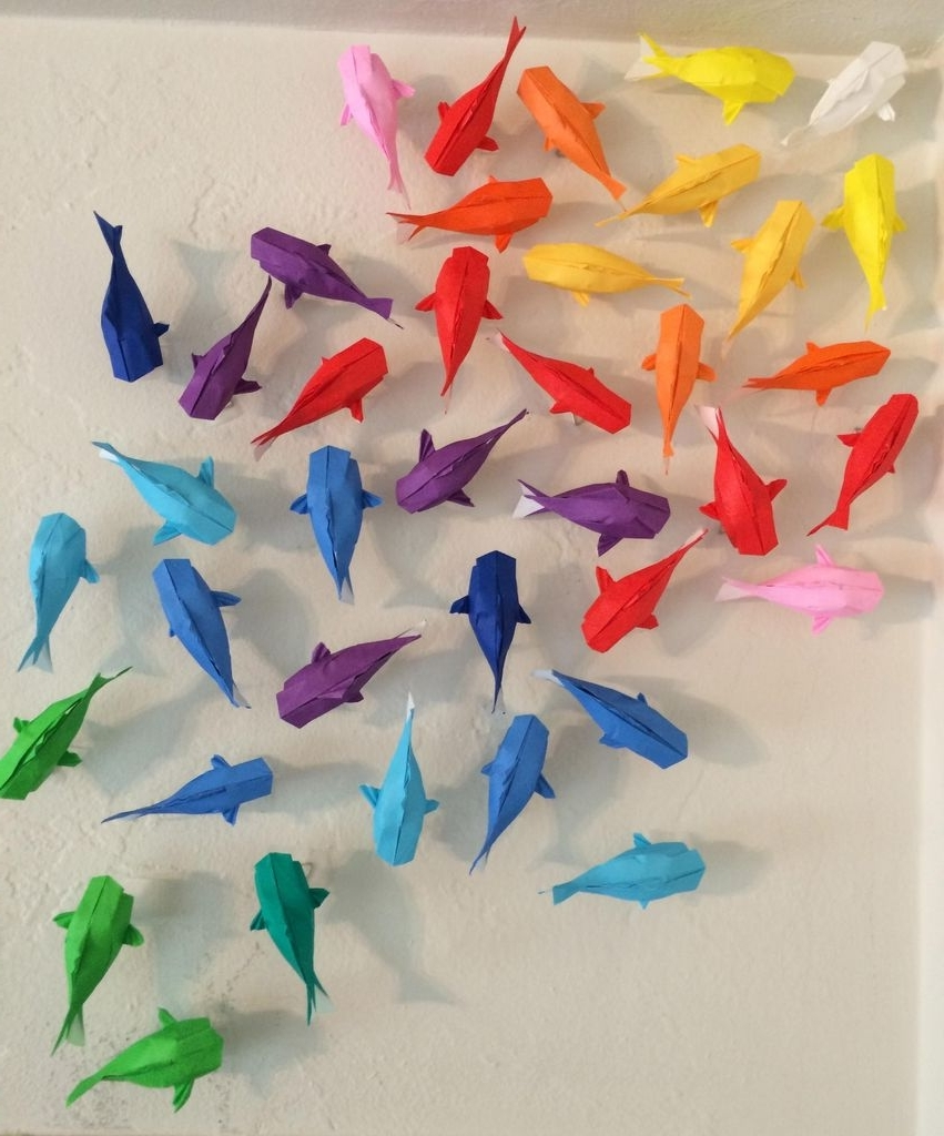 Most Popular Wall Of Rainbow Koi: 7 Steps (With Pictures) Inside Diy Origami Wall Art (View 11 of 15)