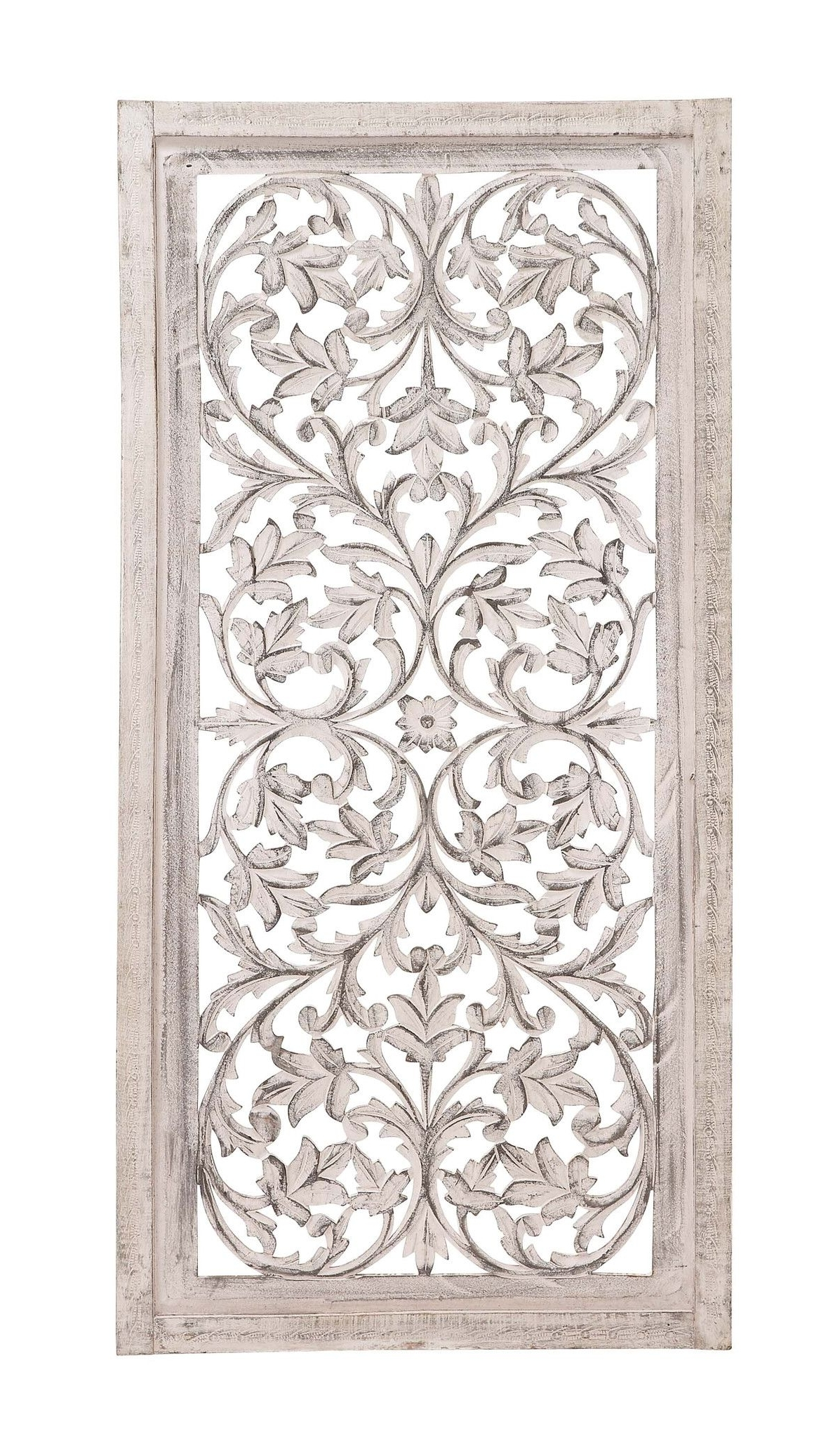 "Most Popular White Wooden Wall Art Intended For 51"" Shabby White Moroccan Leaf Wood Wall Art Panel French Country (View 2 of 15)"