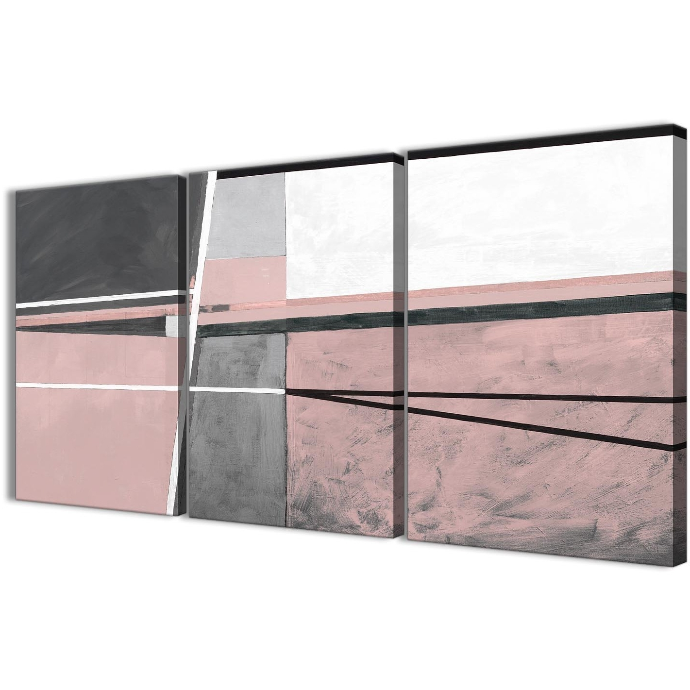 Most Recent 3 Panel Blush Pink Grey Painting Kitchen Canvas Wall Art In Grey Abstract Canvas Wall Art (View 13 of 15)