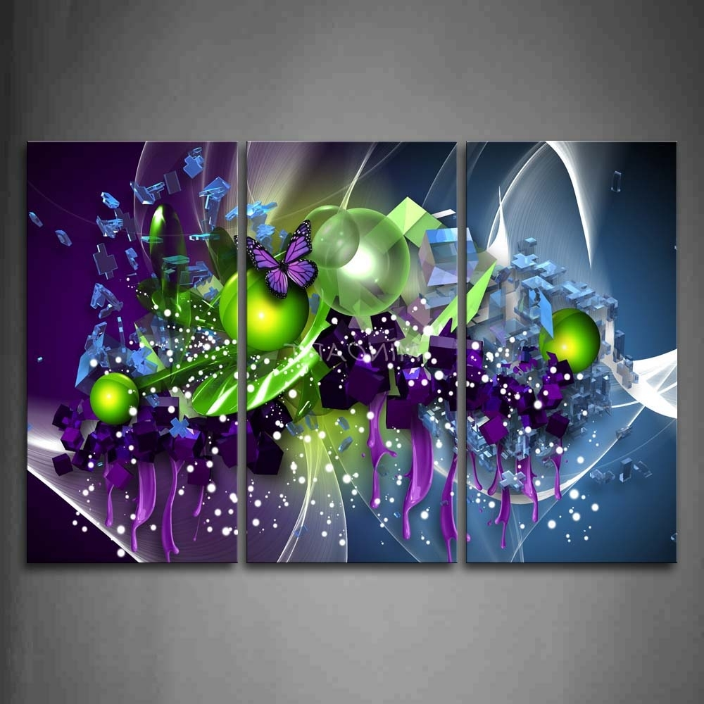 Most Recent 3 Piece Wall Art Painting Artistic Purple Butterfly Green Ball For Abstract Butterfly Wall Art (View 14 of 15)