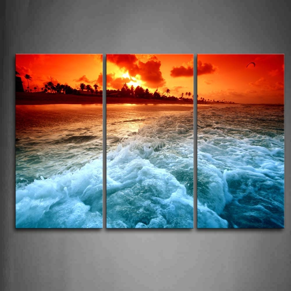 Most Recent 3 Piece Wall Art Painting Huge Wave On Beach At Sunset Picture With Regard To 3 Piece Beach Wall Art (View 3 of 15)