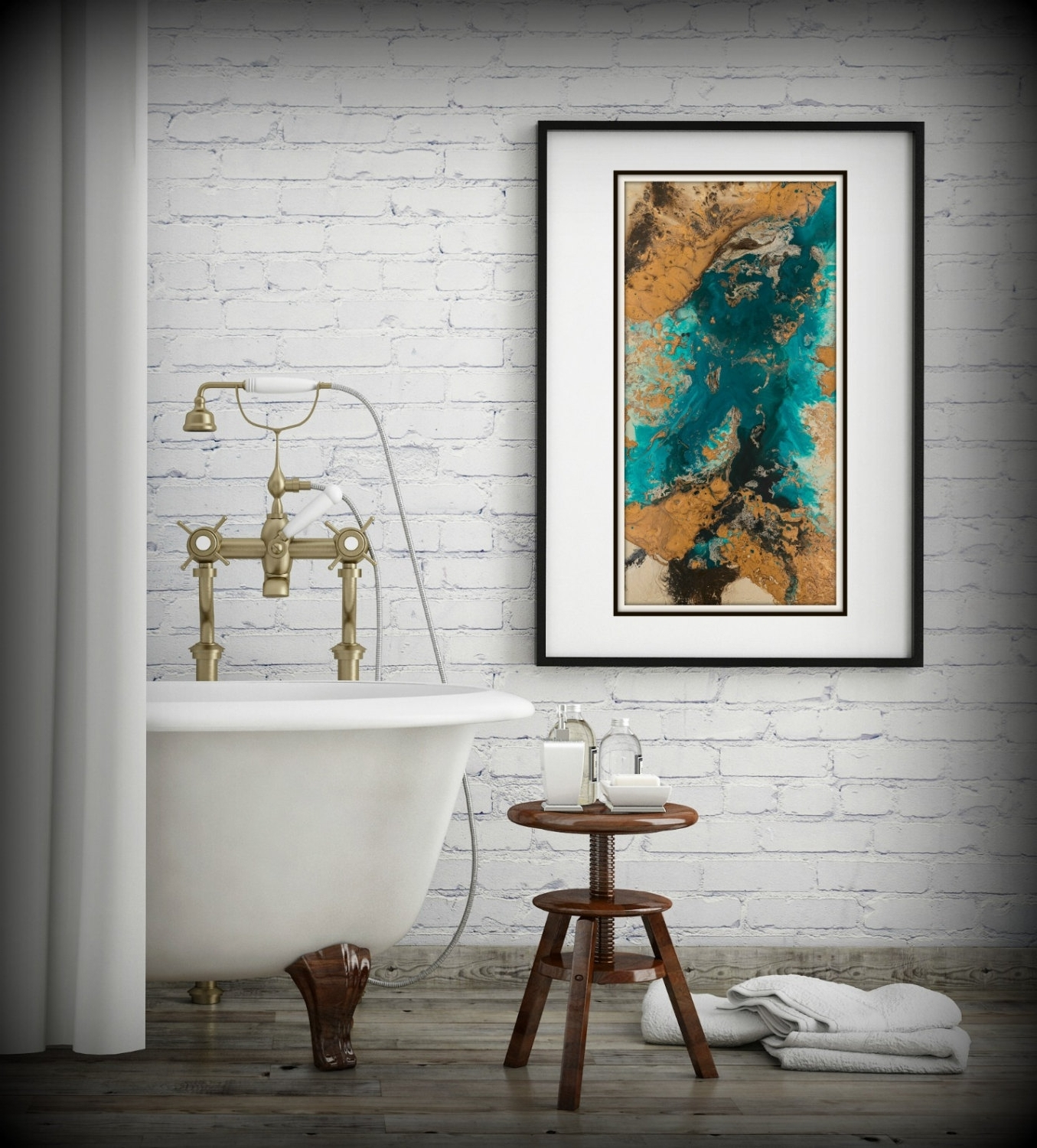 Most Recent Abstract Wall Art For Bathroom Pertaining To Teal And Copper Abstract Art, Large Abstract Print, Neutral Colors (View 7 of 15)