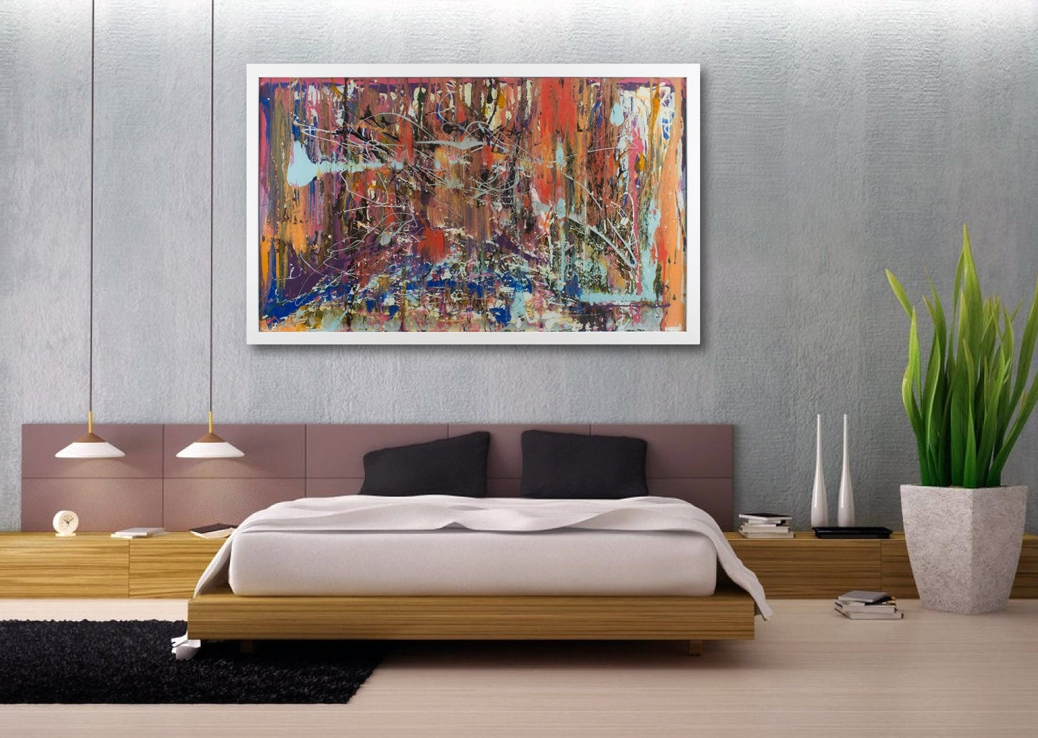 Most Recent Abstract Wall Art For Bedroom Pertaining To Innovative Way Modern Wall Decor Room — Joanne Russo Homesjoanne (View 4 of 15)