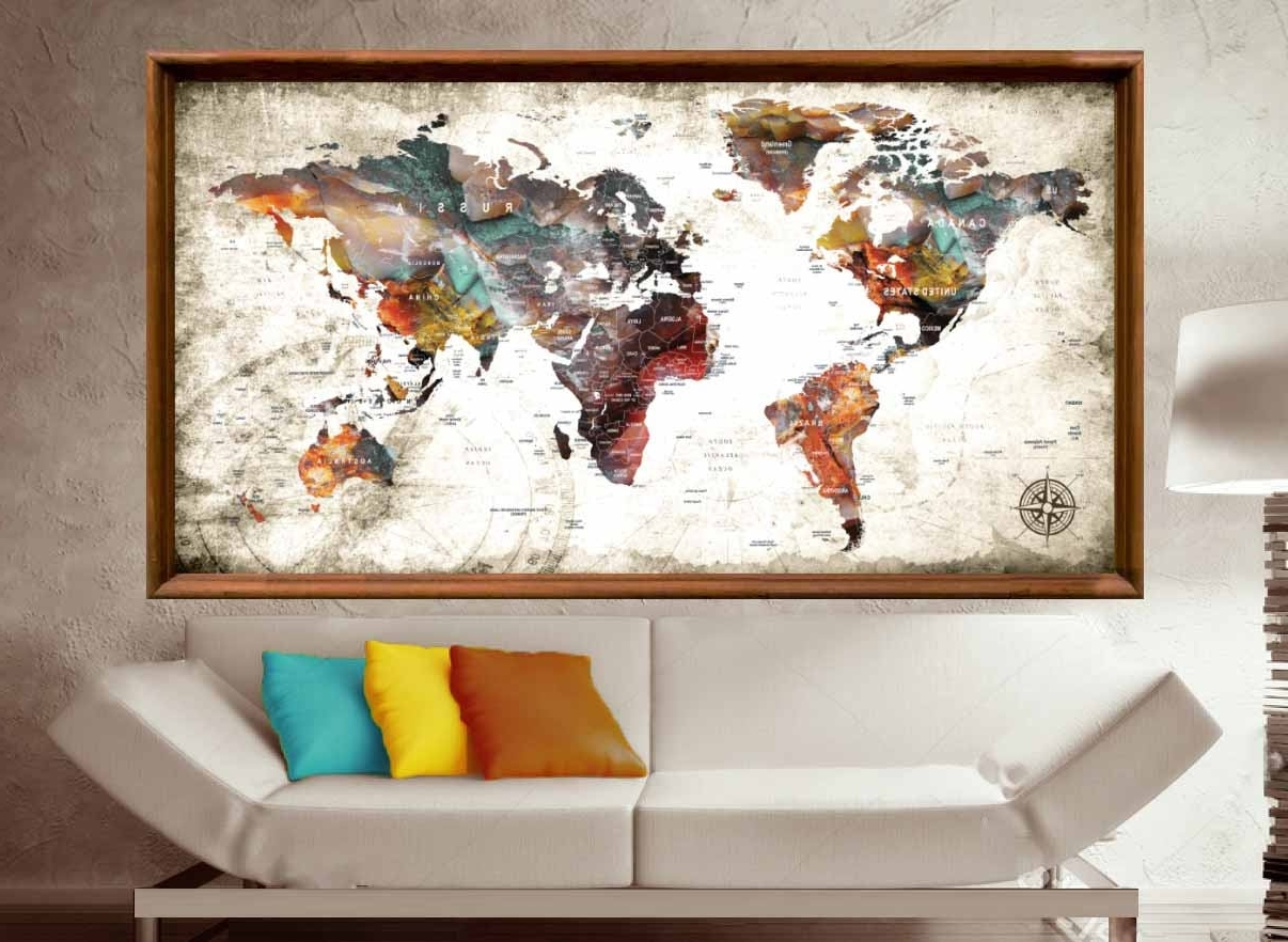 Most Recent Abstract World Map Wall Art Throughout Large World Map Abstract Art Poster Print,world Map Wall Art,push (View 6 of 15)
