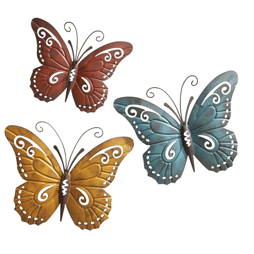 Most Recent Amazon: Nature Inspired Metal Butterfly Decorative Wall Art Inside Large Metal Butterfly Wall Art (View 4 of 15)