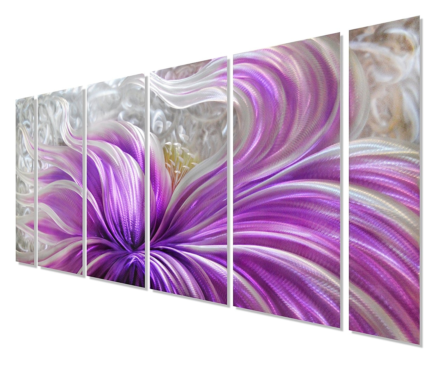 Most Recent Amazon: Pure Art Purple Blossoms Flower Metal Wall Art For Purple Wall Art (View 6 of 15)