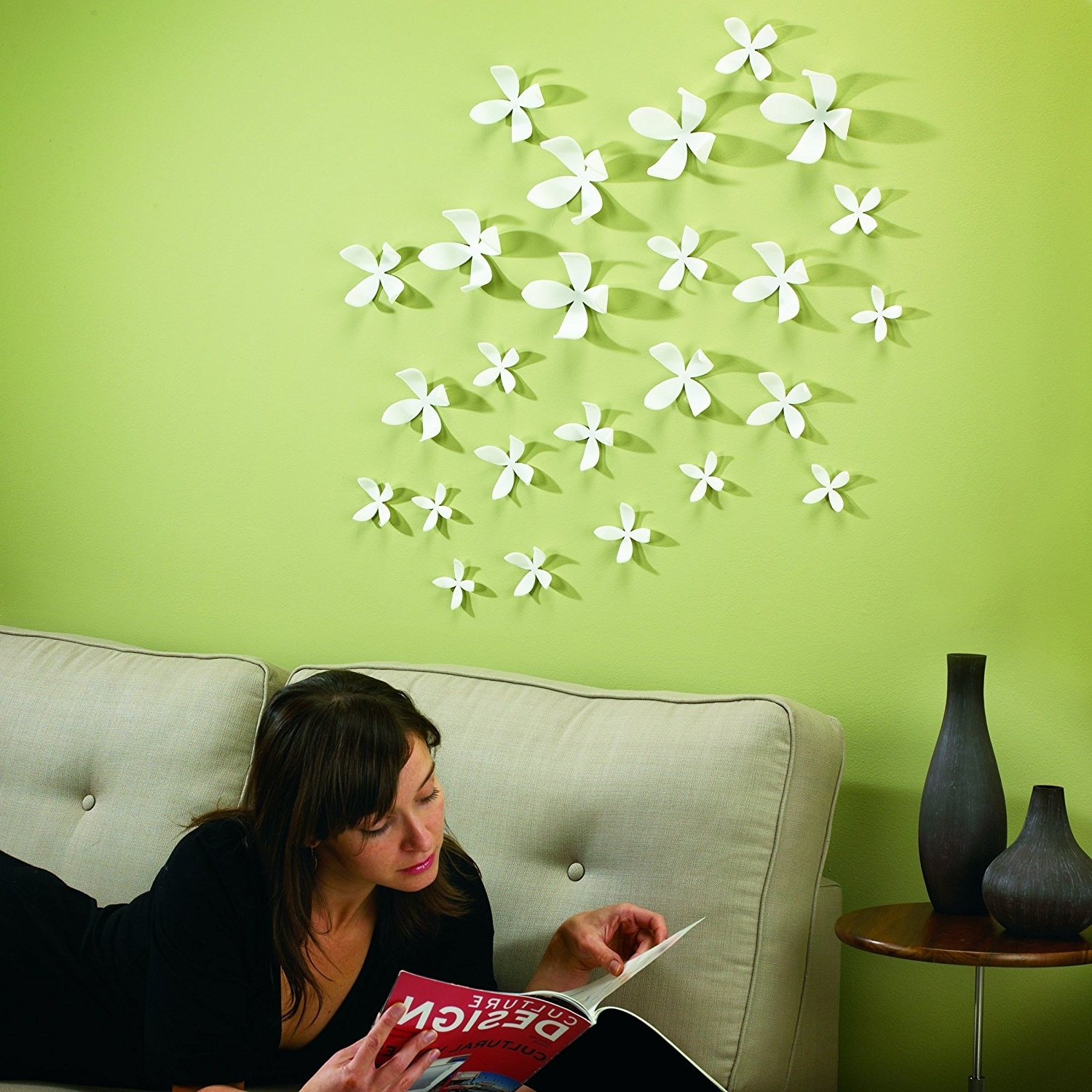 Most Recent Amazon: Umbra Wallflower Wall Decor, White, Set Of 25: Home For Umbra 3d Flower Wall Art (View 11 of 15)