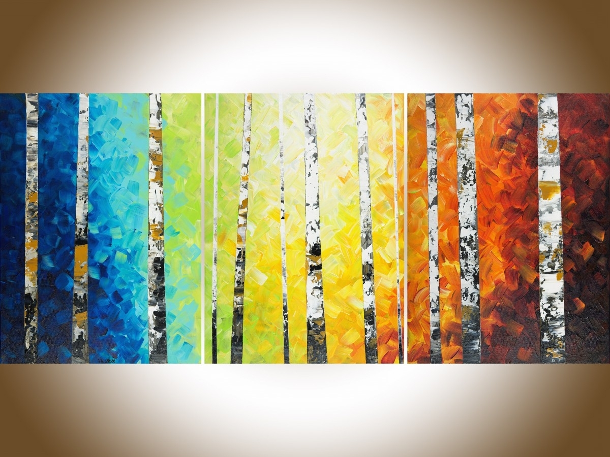 """Most Recent Autumn Birch Trees Iiqiqigallery 54"""" X 24"""" Original Oil Inside Orange And Blue Wall Art (View 6 of 15)"""