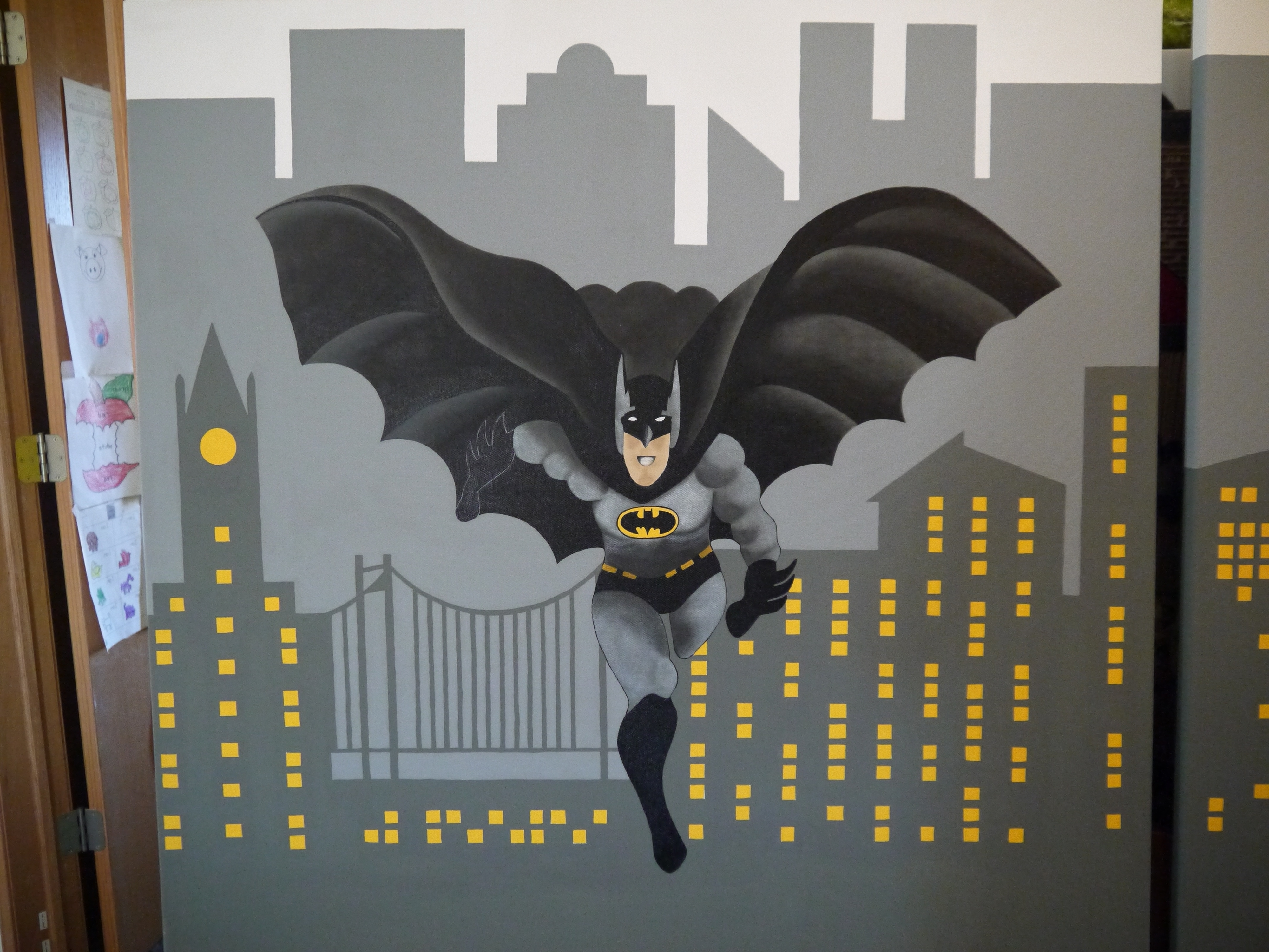 Most Recent Batman 3D Wall Art Throughout Super Hero Themed Room – (Painted On Canvas) Without The Batman (View 9 of 15)