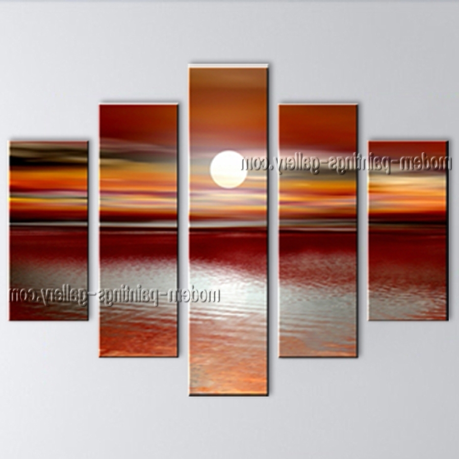 Most Recent Big Canvas Wall Art Inside Huge Hand Painted Abstract Seascape Oil Painting Contemporary Wall (View 12 of 15)