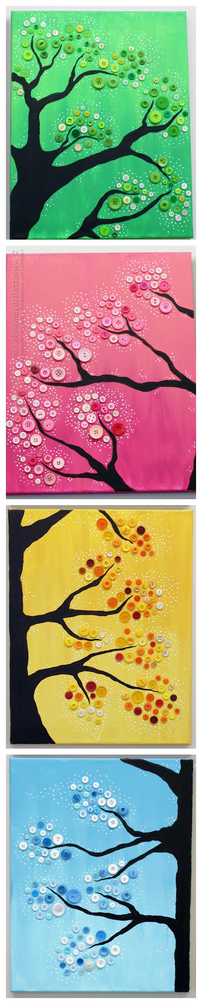 Most Recent Button Tree Wall Art: 4 Seasons, Colorful Button Tree With Regard To Seasonal Wall Art (View 8 of 15)