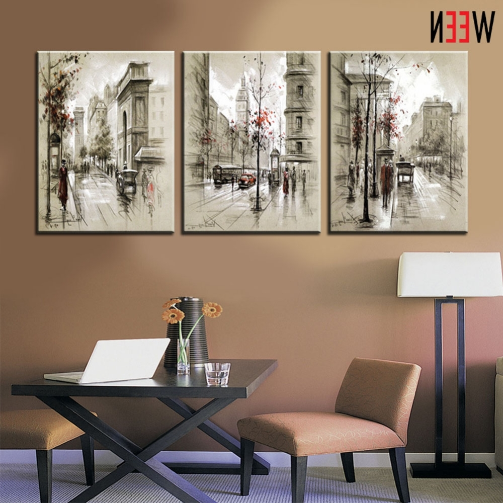 Most Recent Canvas Printings Retro City Street Landscape 3 Piece Modern Style Inside Large Cheap Wall Art (View 10 of 15)