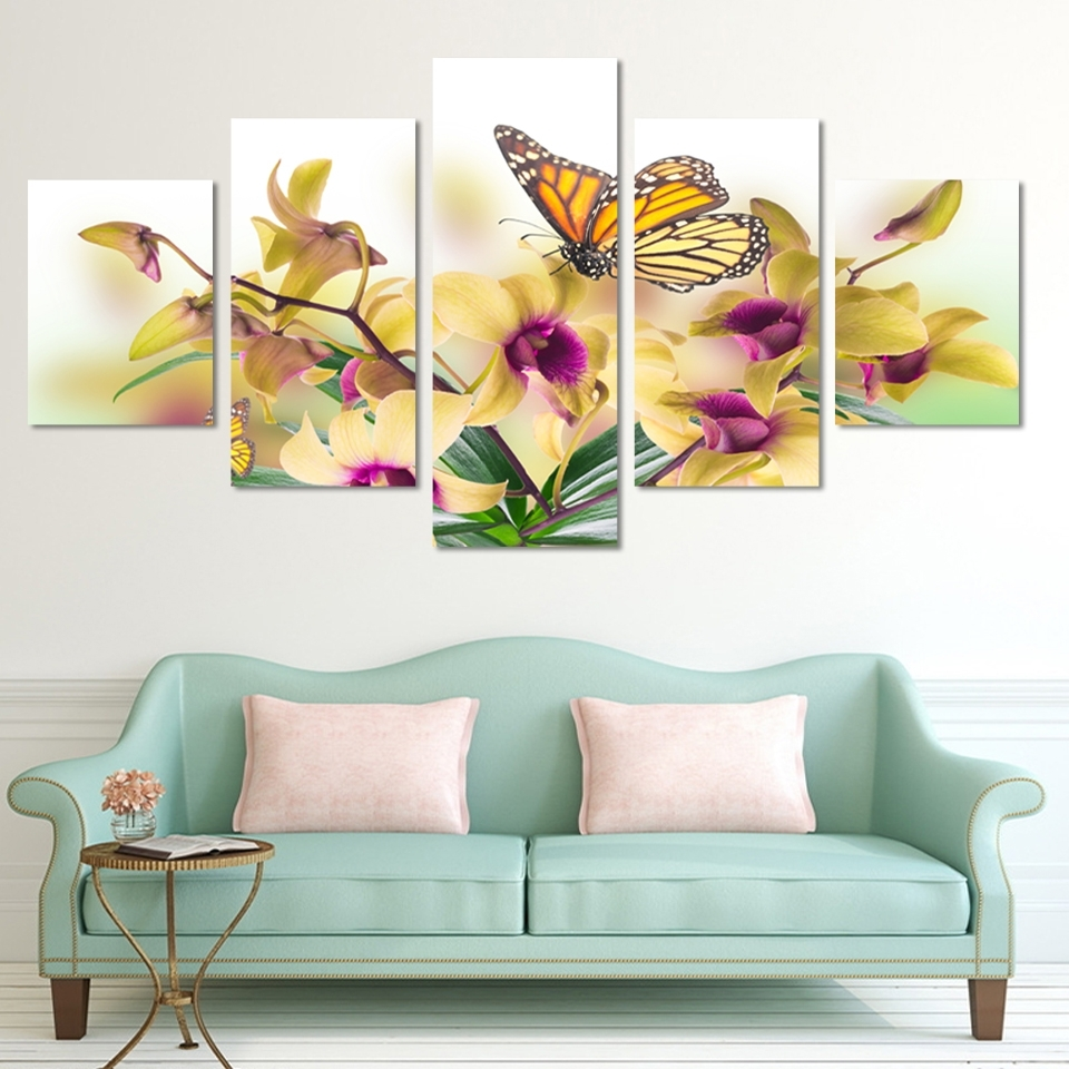 Most Recent Cheap Abstract Wall Art Inside No Frame Paintings Fashion Design 5 Panel Modern Wall Painting (View 8 of 15)