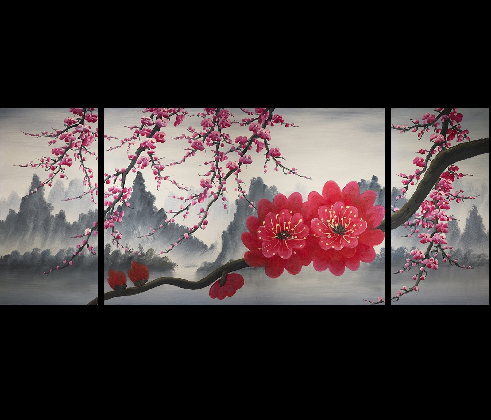 Most Recent Cherry Blossom Painting Chinese Feng Shui Flower Painting Modern Inside Cherry Blossom Oil Painting Modern Abstract Wall Art (View 11 of 15)