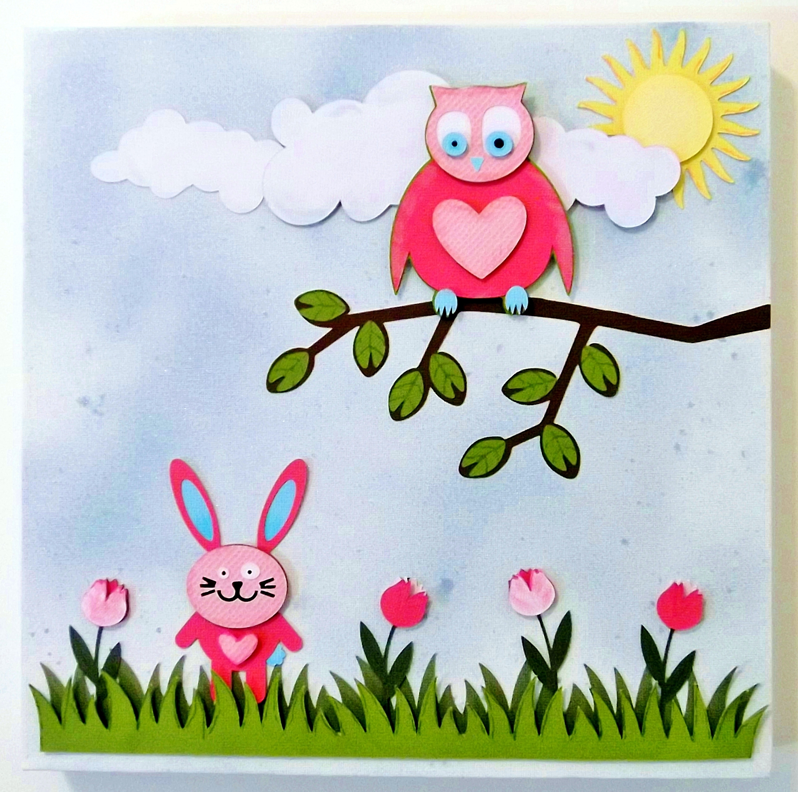 Most Recent Cute Owl & Bunny 3D Paper Wall Art Canvas, 30Cm X 30Cm, For A Baby With Regard To 3D Wall Art For Baby Nursery (View 12 of 15)