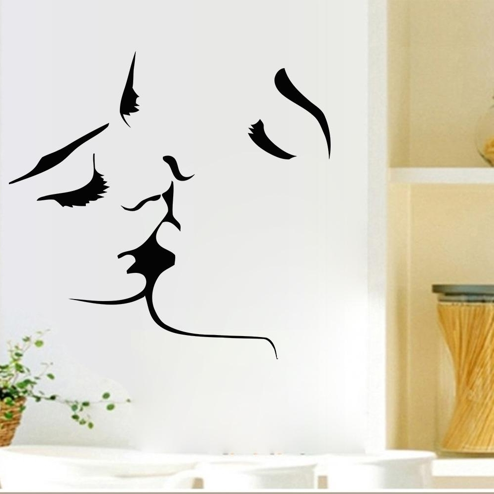 Most Recent Decorative 3D Wall Art Stickers For Romantic Lovers Kissing Wall Decals Living Room Bedroom Removable (View 10 of 15)