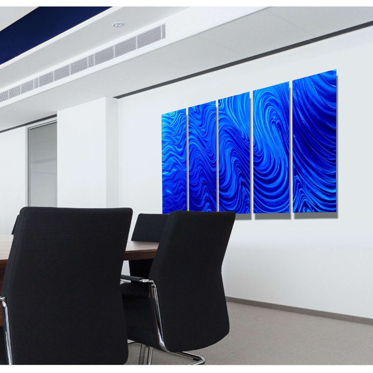 Most Recent Electronic Wall Art For Blue Mirage – Blue Metal Wall Art – 5 Panel Wall Décorjon (View 4 of 15)