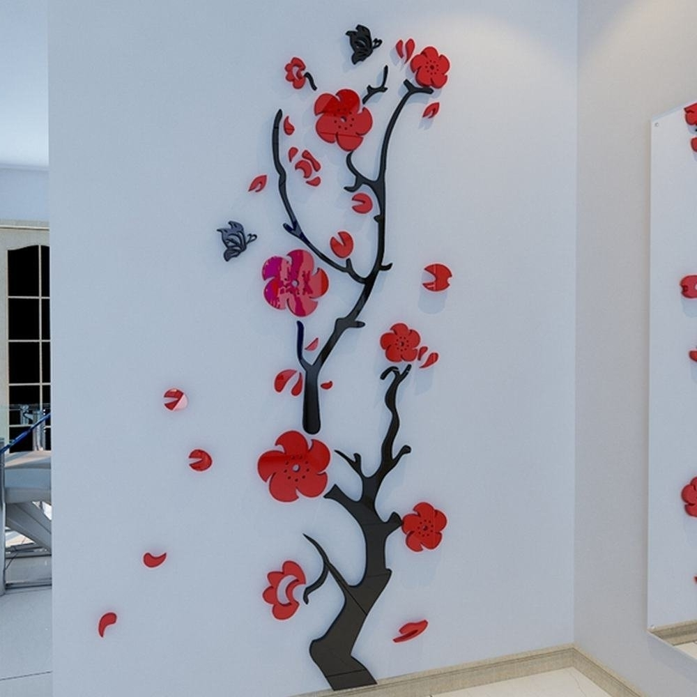 Most Recent Flowers 3D Wall Art Regarding Alicemall Red Wall Sticker Stunning Red Plum Flower 3D Wall Art (View 13 of 15)