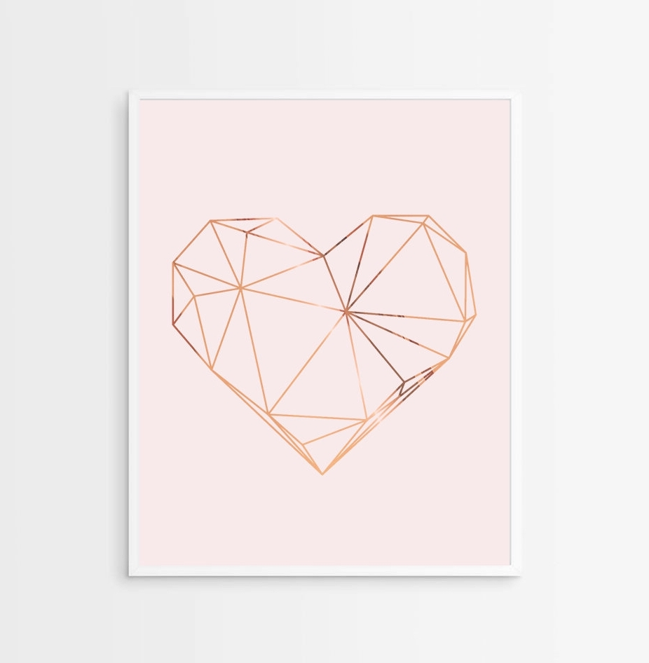 Most Recent Geometric Heart Print – Copper Heart – Copper And Blush Home Decor With Copper Wall Art Home Decor (View 9 of 15)