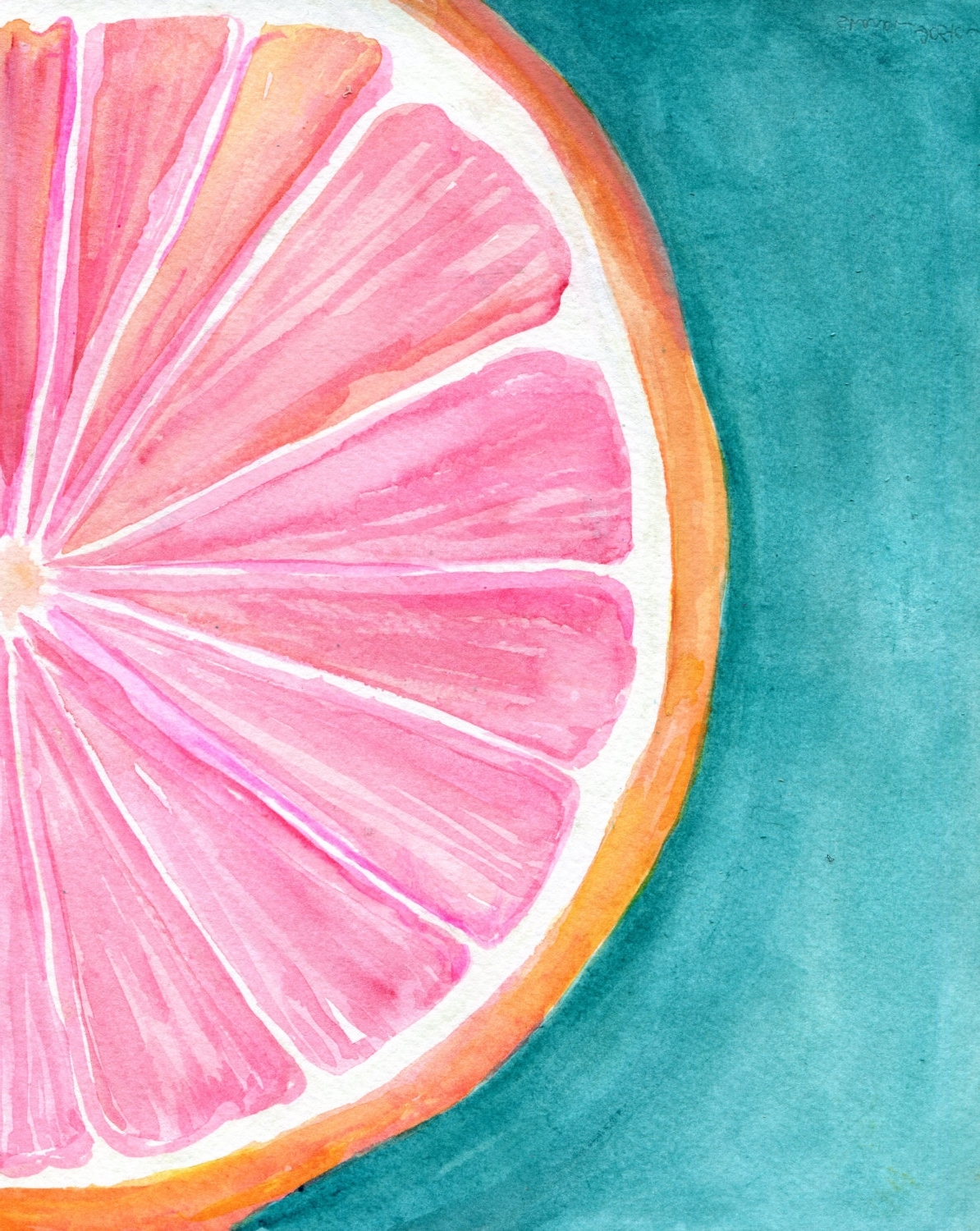 Most Recent Grapefruit On Turquoise Watercolor Painting, Original Citrus Art Inside Grape Colour Wall Art (View 13 of 15)