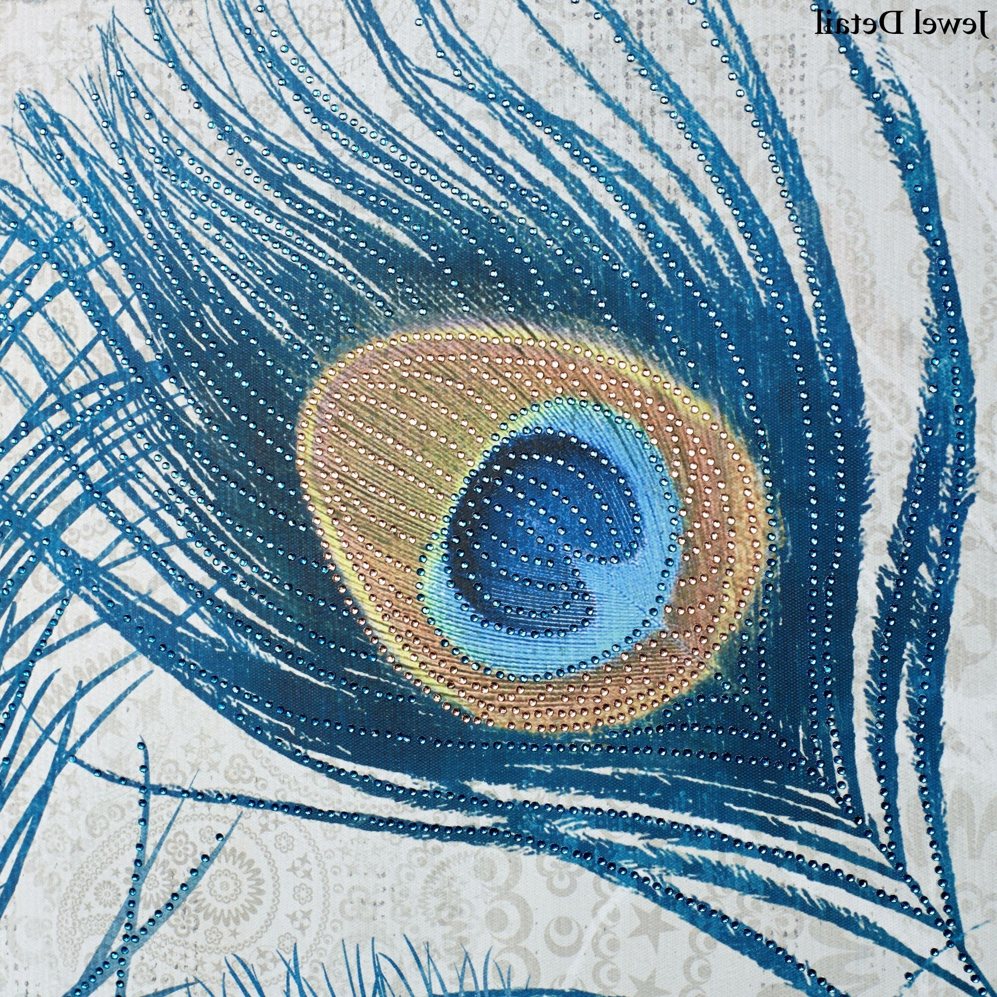 Most Recent Jeweled Peacock Wall Art In Peacock Feathers Jeweled Canvas Wall Art (View 8 of 15)
